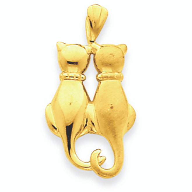 14K Gold Cats Pendant