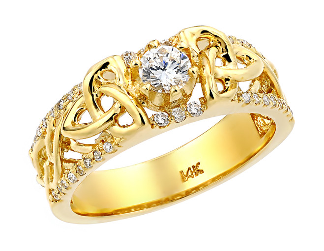 Yellow Gold Celtic Knot Diamond Wedding Ring