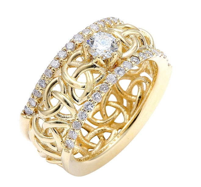 Gold Celtic Trinity Love Knot Diamond Wedding Ring 0.80ct.