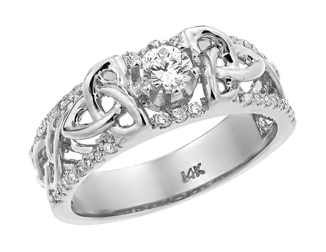 White Gold Celtic Knot Diamond Wedding Ring