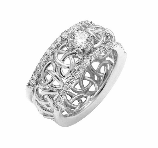 White Gold Celtic Trinity Knot Diamond Wedding Ring