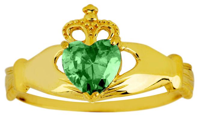 Gold Emerald Birthstone Claddagh Ring