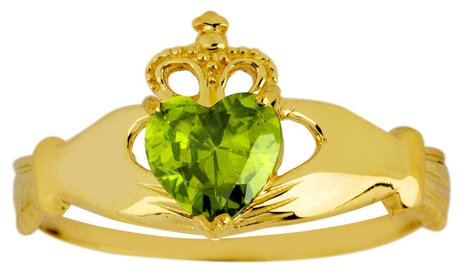 August birthstone peridot claddagh ring in gold.