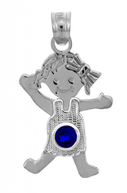 White Gold Baby Charm Pendant - CZ Blue Sapphire Girl Birthstone Charm