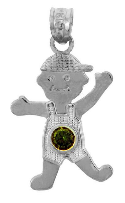 White Gold Baby Charm Pendant - CZ Dark Emerald Green Boy  Birthstone Charm