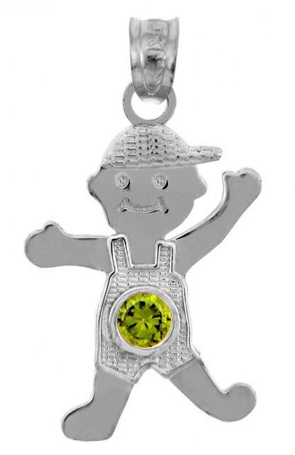 White Gold Baby Charms and Pendants - CZ Peridot Boy  Birthstone Charm