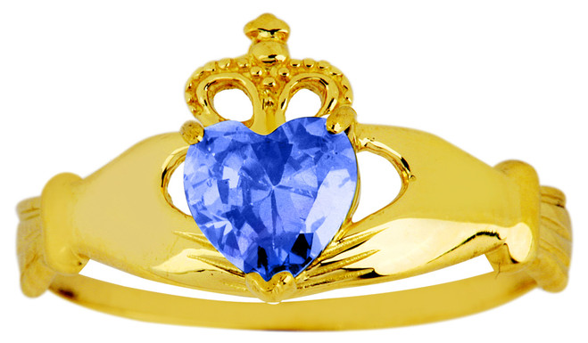 Gold sapphire September birthstone Claddagh ring.