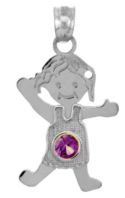 White Gold Baby Charms and Pendants - CZ Amethyst Girl Birthstone Charm