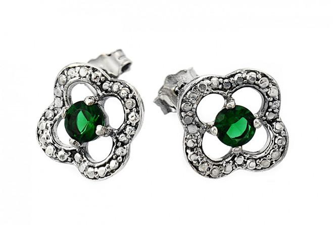 Oxidized Sterling Silver Emerald Clover Earrings
