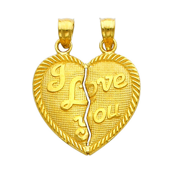 Gold Hearts Apart - I Love You Pendant - Small