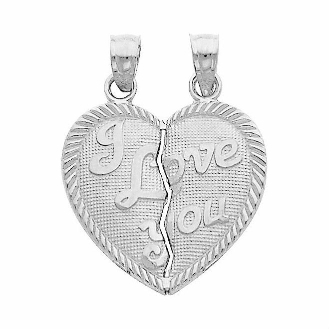 White Gold Hearts Apart - I Love You Pendant - Small