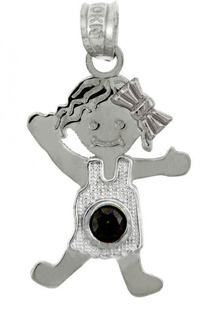 Silver Baby Charms and Pendants - CZ Dark Emerald Green Girl Birthstone Charm