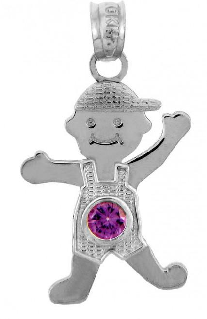 Silver Baby Charms and Pendants - CZ Light Amethyst Boy Birthstone Charm
