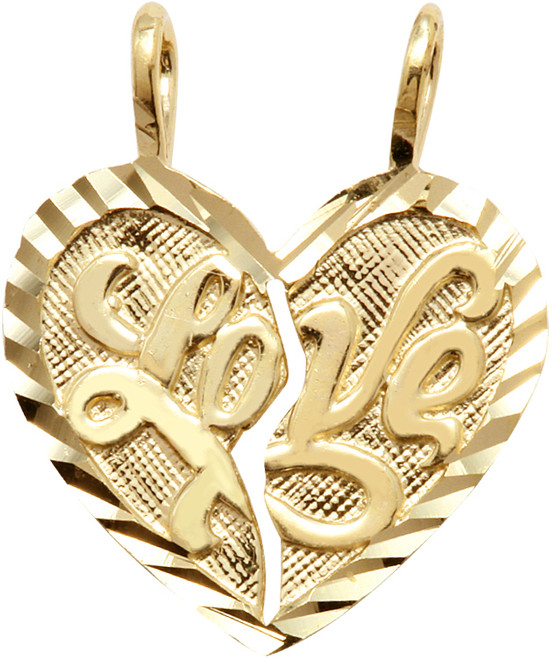 "Yellow Gold ""LOVE ""  Breakable Heart Penant"