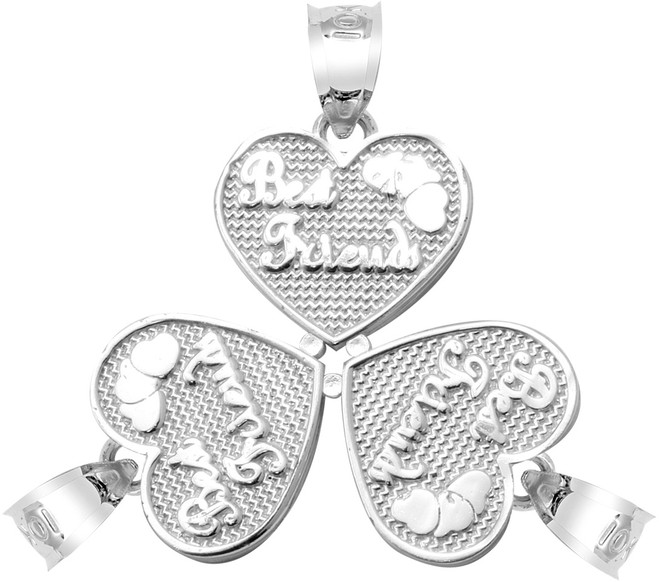 "Silver ""BEST FRIENDS"" Three Breakable Hearts Pendant"