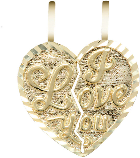 "Yellow Gold ""I LOVE YOU""  Breakable Heart Pendant-Small"
