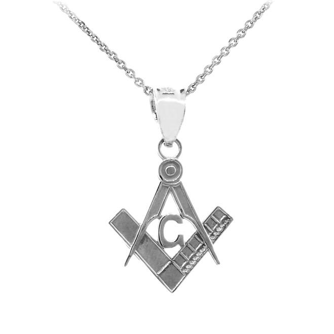 925 Sterling Silver Freemason Small Masonic Pendant Necklace
