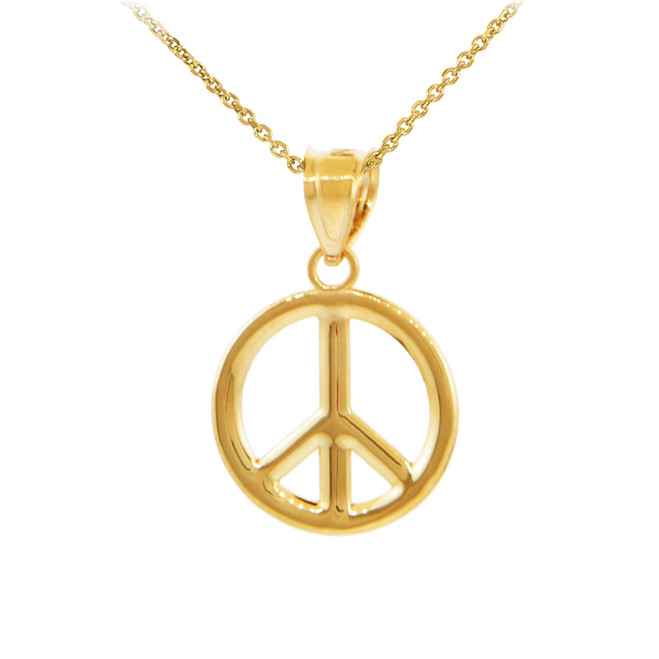 Gold Peace Symbol Pendant Necklace (M)