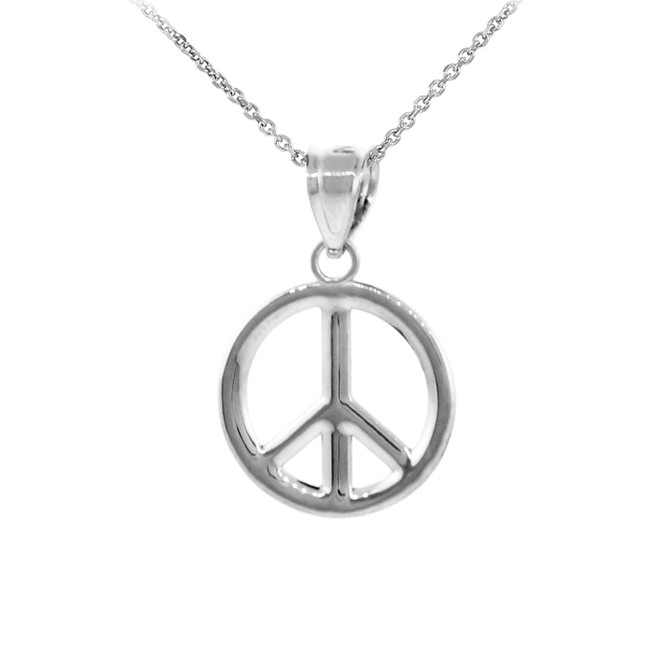 925 Sterling Silver Peace Symbol Pendant Necklace (M)