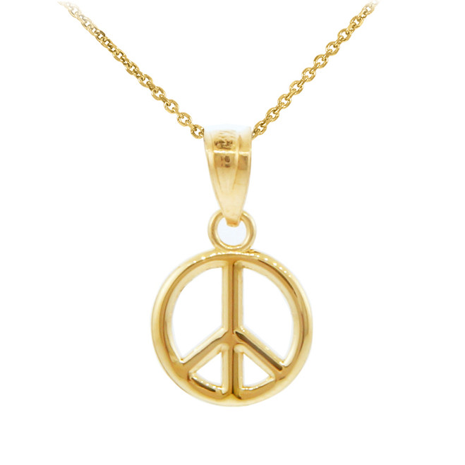 Gold Peace Symbol Charm Pendant  Necklace (S)