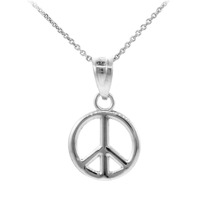 925 Sterling Silver Peace Symbol Small Charm Pendant Necklace