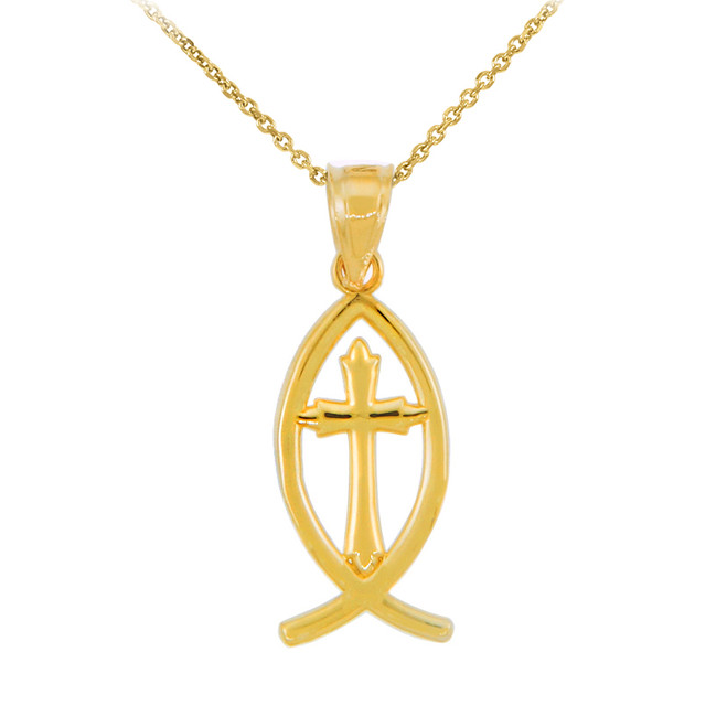 Gold Ichthus Cross Pendant Necklace