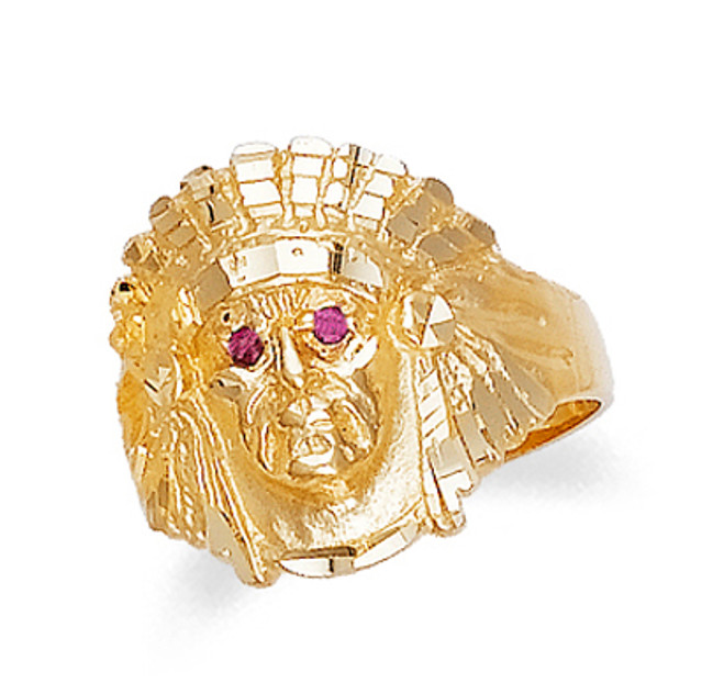 Gold Indian Head Mens Ring with Ruby Eyes