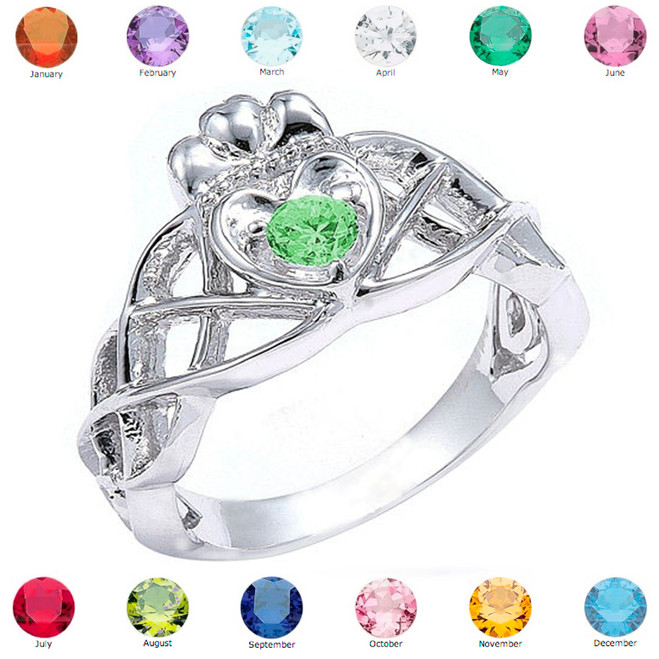 White Gold Trinity Celtic Knot Personalized CZ Birthstone Ladies Ring