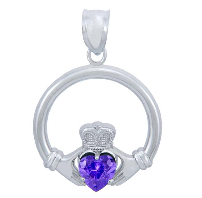 Silver Claddagh Alexandrite CZ Heart Pendant (L)