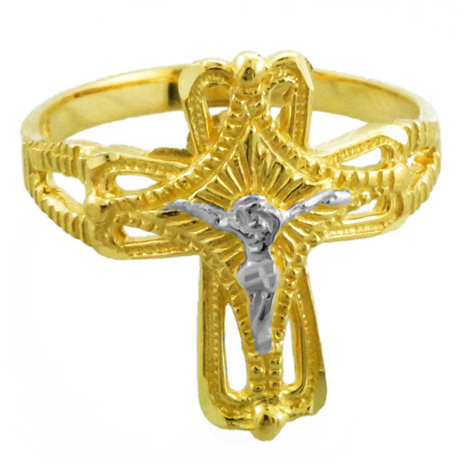 Two-Tone Gold Crucifix Cross Ring