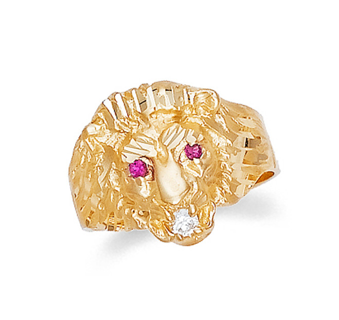 Gold Lion Head Mens Ring with Cubic Zirconia