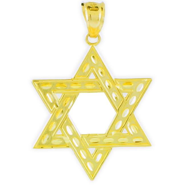 "Gold Jewish Star of David Reversible Pendant (M) 1.25"""