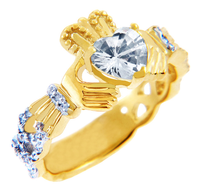 18K Yellow Gold Diamond Claddagh Ring with 0.40 Ct White Topaz