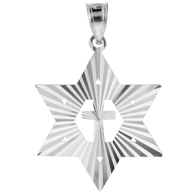 "Sterling Silver Jewish Star of David Cross Pendant (M) 1.25"""