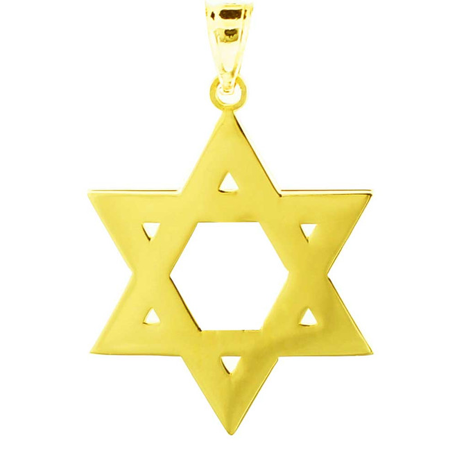 Yellow Gold High Polished Star of David Pendant