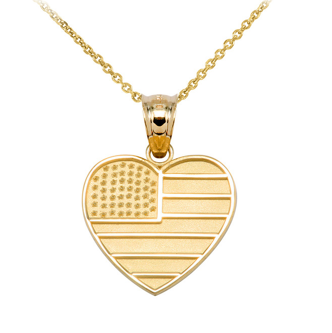 Yellow Gold American Flag Heart Charm Pendant Necklace