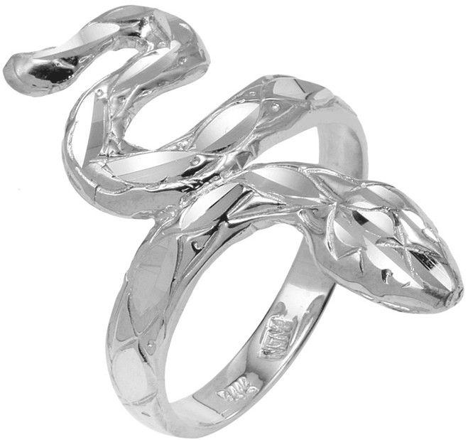 925 Sterling Silver Diamond Cut  Snake Ring