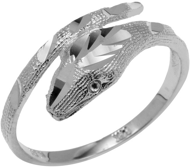 925 Sterling Silver Diamond Cut Cobra Ring
