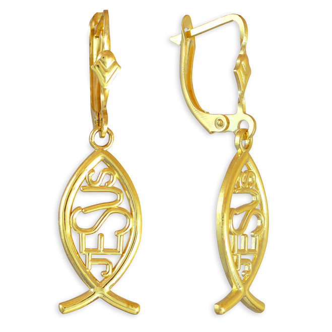 "Gold Ichthus ""JESUS"" Earrings"