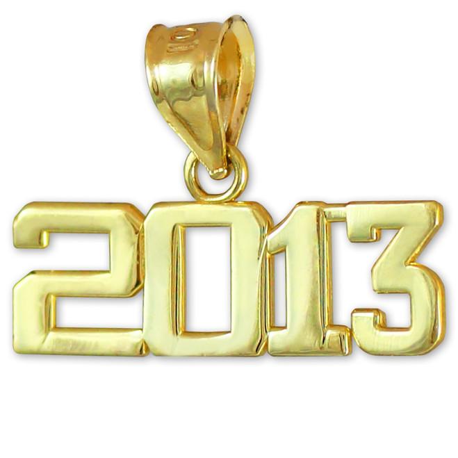 Gold 2013 Class Graduation Charm Pendant