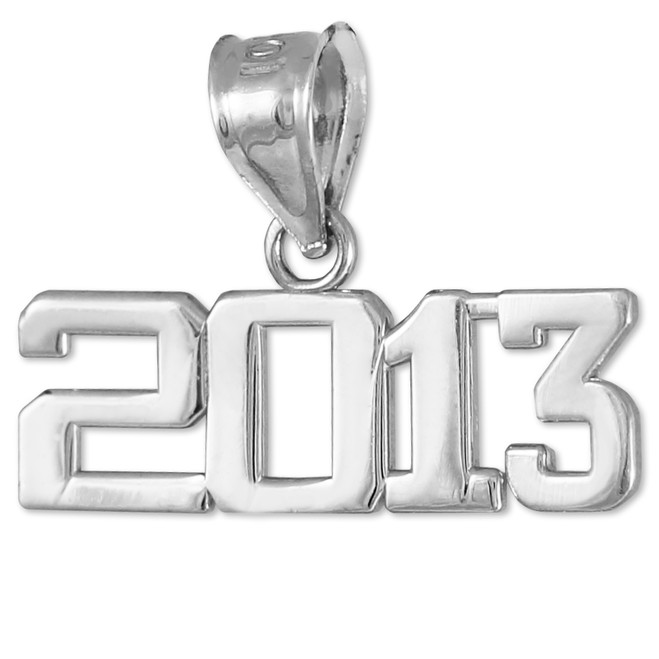 White Gold 2013 Class Graduation Charm Pendant