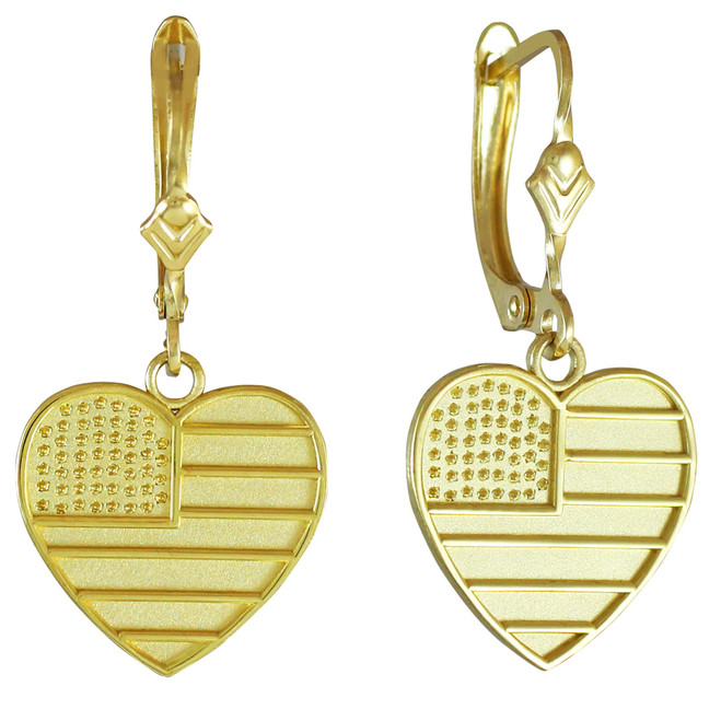 Heart Shape USA Flag Gold Earrings