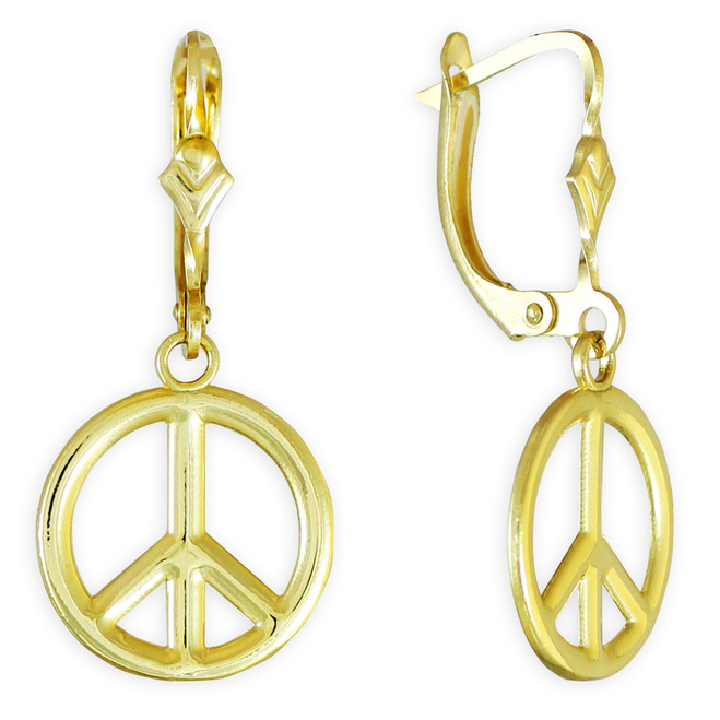 Yellow Gold Peace Symbol Earrings