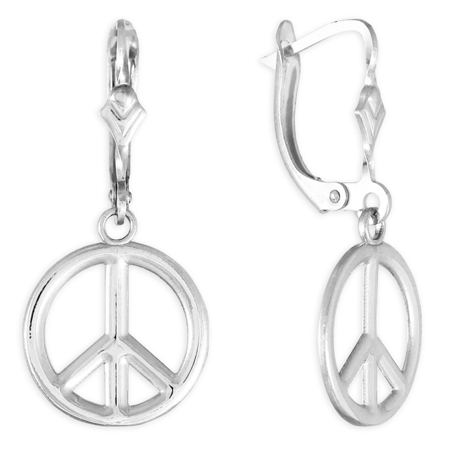 White Gold Peace Symbol Earrings