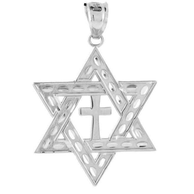 White Gold Star of David Cross Pendant (M) 1.25""