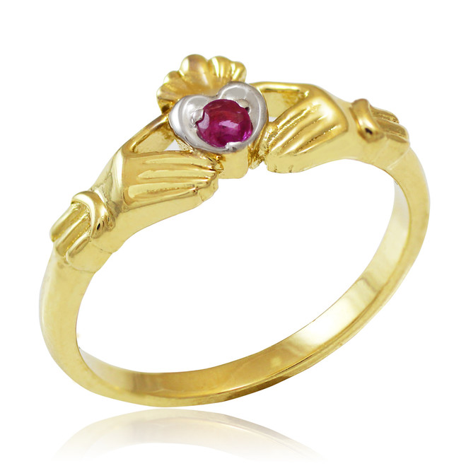 Gold Claddagh Promise Ring with Ruby