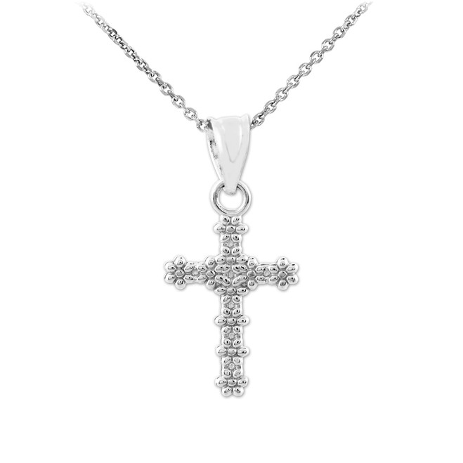 Sterling Silver Flower Cross Charm Pendant Necklaces
