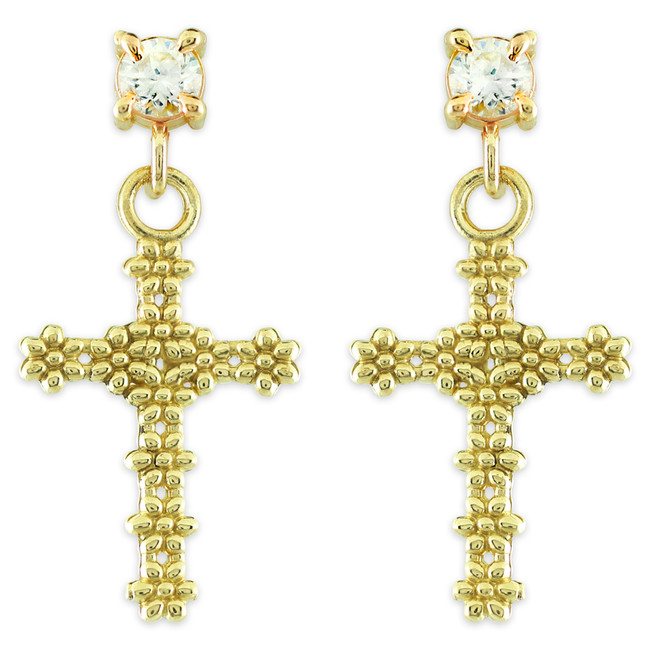 Gold Floral Cross CZ Post Earrings