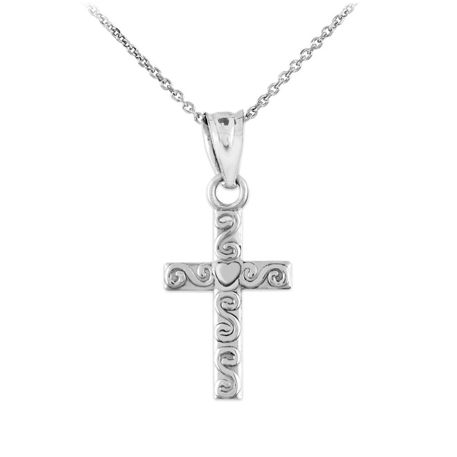 White Gold Twirl Cross Charm Pendant Necklace