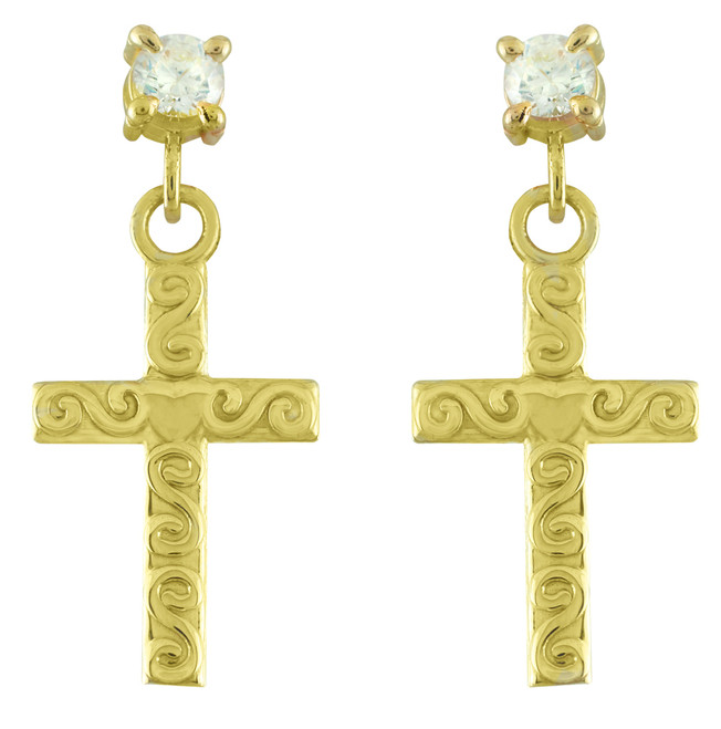 Gold Twirl Cross CZ Post Earrings